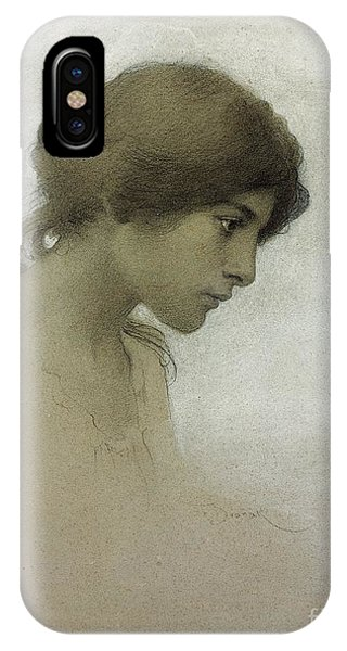 Portraits iPhone X Case - Head Of A Girl  by Franz Dvorak