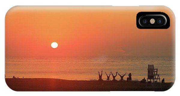 IPhone Case featuring the photograph Headstand Fun At Sunrise by Robert Banach