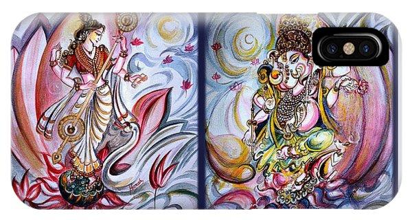 Healing Art - Musical Ganesha And Saraswati IPhone Case