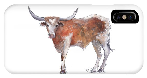 Cow iPhone X / XS Case - Heart Of Texas Longhorn by Kathleen McElwaine