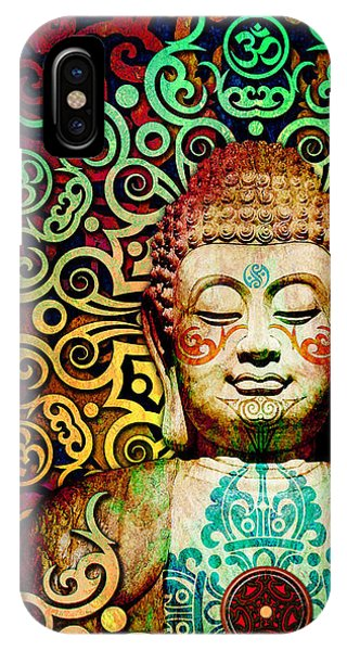 IPhone Case featuring the digital art Heart Of Transcendence - Colorful Tribal Buddha by Christopher Beikmann