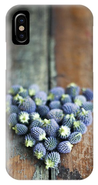 Heart Shaped Blue Thistle Buds IPhone Case