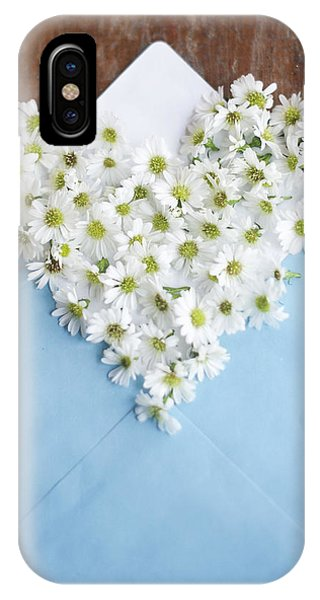 Heart Shaped Daisies In Blue Envelope IPhone Case