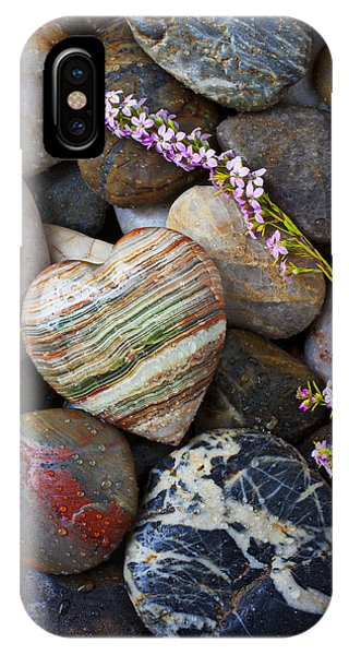 Heart Stone With Wild Flower IPhone Case