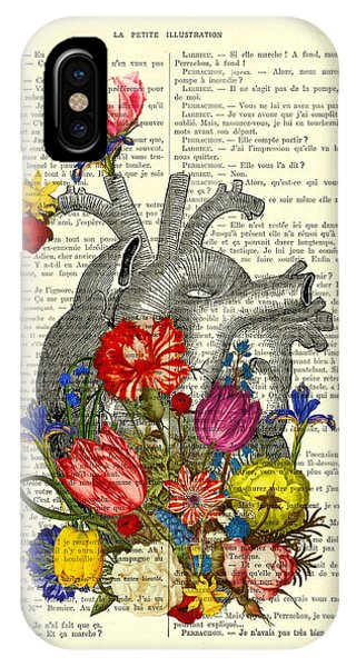 Anatomy iPhone Case - Heart With Colorful Flowers by Madame Memento