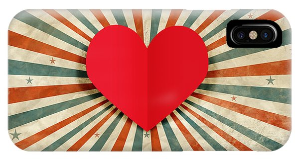Romantic Background iPhone Case - Heart With Ray Background by Setsiri Silapasuwanchai