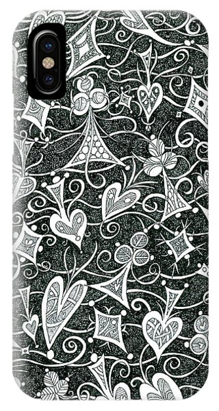 Hearts, Spades, Diamonds And Clubs In Black IPhone Case