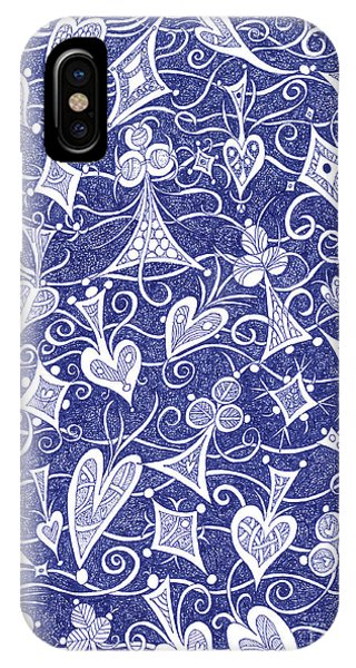 Hearts, Spades, Diamonds And Clubs In Blue IPhone Case