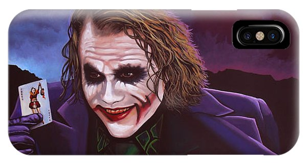 Knight iPhone Case - Heath Ledger As The Joker Painting by Paul Meijering