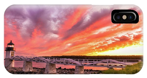 IPhone Case featuring the photograph Heavens On Fire - Port Clyde by Expressive Landscapes Fine Art Photography by Thom