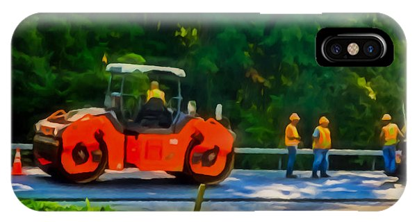 Heavy Tandem Vibration Roller Compactor At Asphalt Pavement Works For Road Repairing 2 IPhone Case