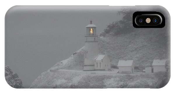 Heceta Lighthouse Snowstorm IPhone Case