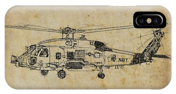 Helicopter iPhone X Case - Helicopter 01 by Drawspots Illustrations