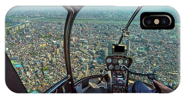 Odaiba iPhone Case - Helicopter On Japan Skyline by Benny Marty