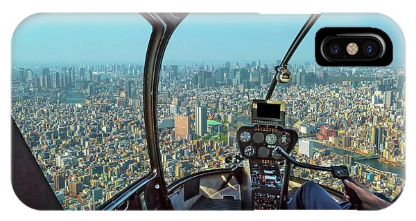 Odaiba iPhone Case - Helicopter On Tokyo by Benny Marty