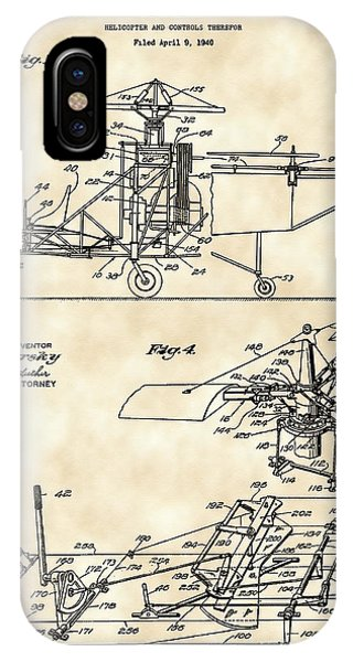Helicopter iPhone X Case - Helicopter Patent 1940 - Vintage by Stephen Younts