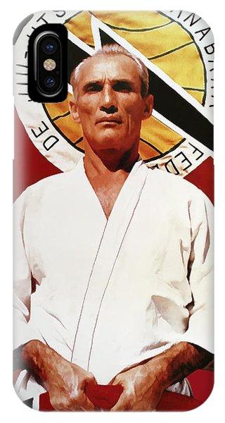 Brazil iPhone X Case - Helio Gracie - Famed Brazilian Jiu-jitsu Grandmaster by Daniel Hagerman