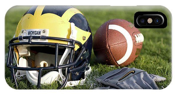 Helmet On The Field With Football And Gloves IPhone Case