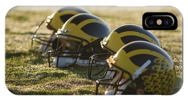 Helmets On The Field At Dawn IPhone Case