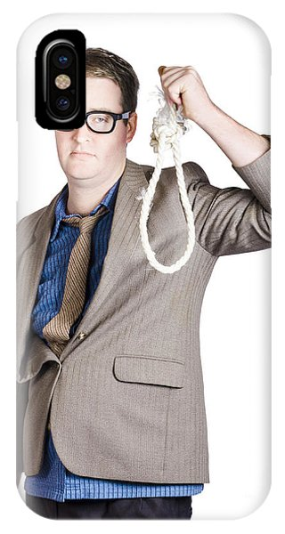 Helpless Businessman Holding Rope With Tied Noose IPhone Case