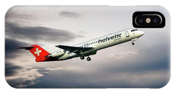100 iPhone Case - Helvetic Airways Fokker 100 by Smart Aviation