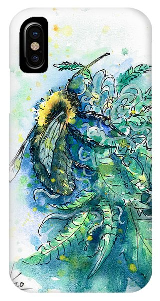 IPhone Case featuring the painting Hemp Flower Honey Bee by Ashley Kujan