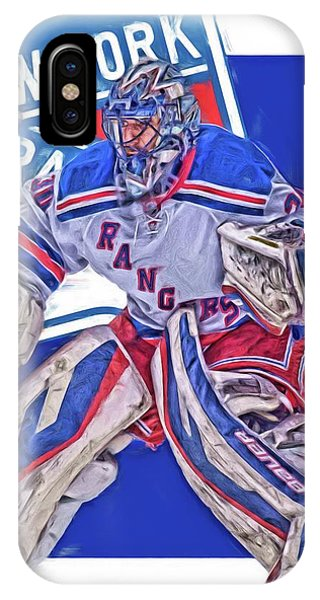 Winter iPhone Case - Henrik Lundqvist New York Rangers Oil Art by Joe Hamilton
