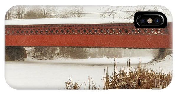 Henry Covered Bridge In Winter IPhone Case