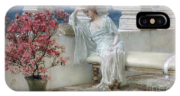 Deep Thought iPhone Case - Her Eyes Are With Her Thoughts And They Are Far Away by Sir Lawrence Alma-Tadema