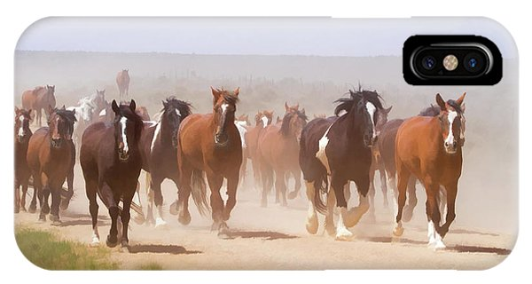 Herd Of Horses During The Great American Horse Drive On A Dusty Road IPhone Case