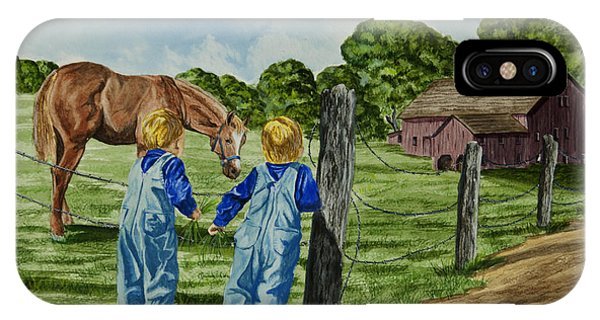 New England Barn iPhone Case - Here Horsey Horsey by Charlotte Blanchard
