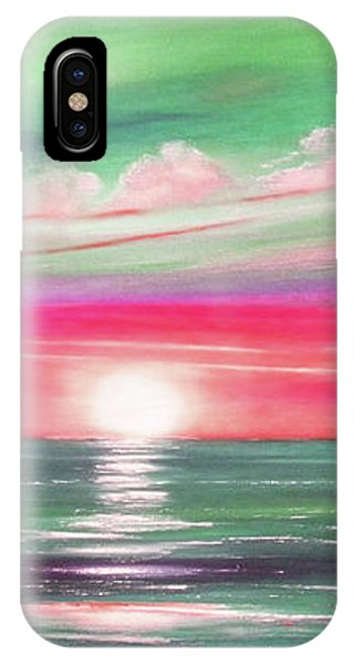 Here It Goes In Teal And Magenta Panoramic Sunset IPhone Case