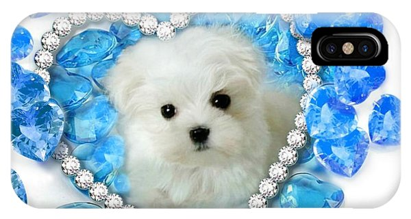 Hermes The Maltese And Blue Hearts IPhone Case