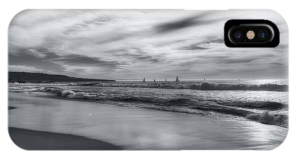IPhone Case featuring the photograph Hermosa Evening Black And White by Michael Hope