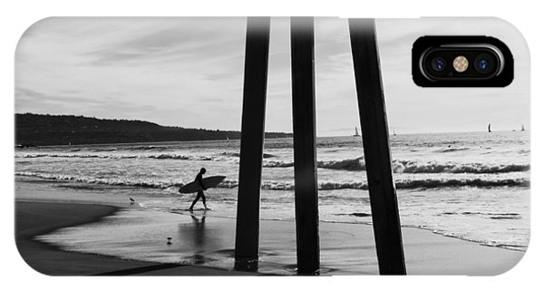IPhone Case featuring the photograph Hermosa Surfer Under Pier by Michael Hope