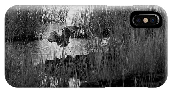 Heron And Grass In B/w IPhone Case