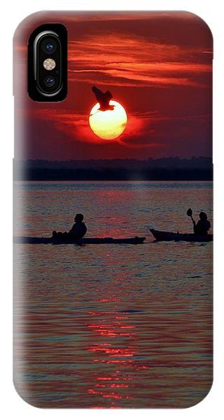 Heron And Kayakers Sunset IPhone Case