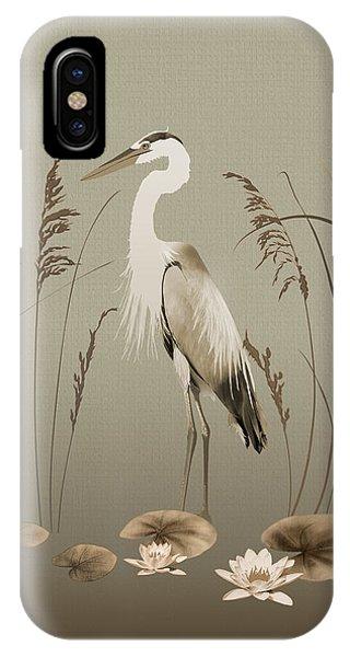 Heron And Lotus Flowers IPhone Case