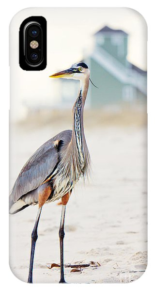 Beach iPhone Case - Heron And The Beach House by Joan McCool