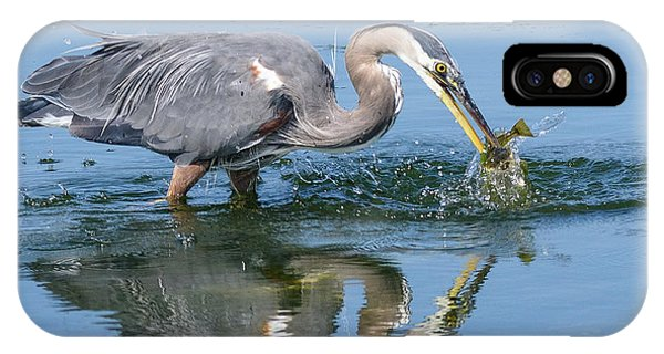 Great Blue Heron Catches A Fish IPhone Case