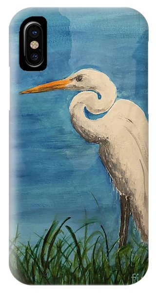IPhone Case featuring the painting Heron by Donald Paczynski