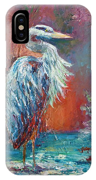 IPhone Case featuring the painting Heron In Color by Phyllis Howard