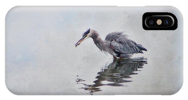 Heron Fishing  - Textured IPhone Case