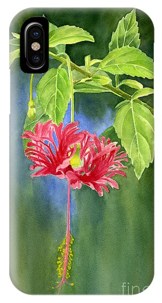 Hibiscus Flower iPhone Case - Hibiscus Chinese Red Lantern With Background by Sharon Freeman