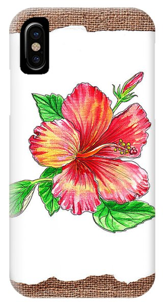 Hibiscus Flower iPhone Case - Hibiscus Flower Botanical by Irina Sztukowski