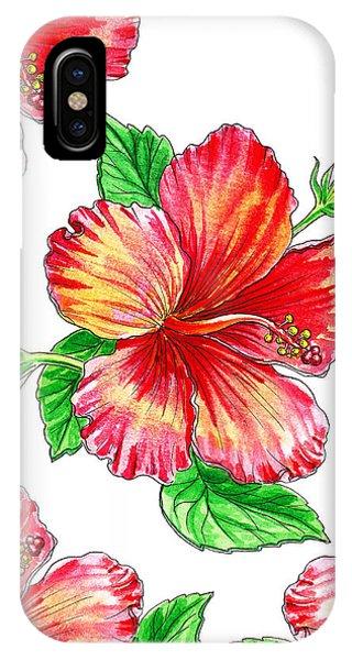 Hibiscus Flower iPhone Case - Hibiscus Magic Garden by Irina Sztukowski