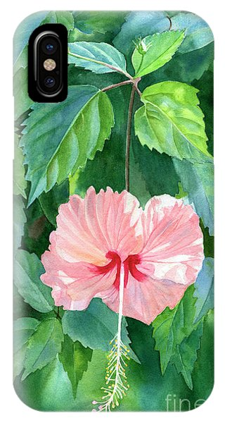 Hibiscus Flower iPhone Case - Hibiscus Sprinkle Rain With Leafy Background by Sharon Freeman