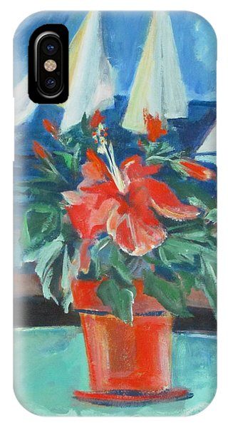 Hibiscus With An Orange And Sails For Breakfast IPhone Case