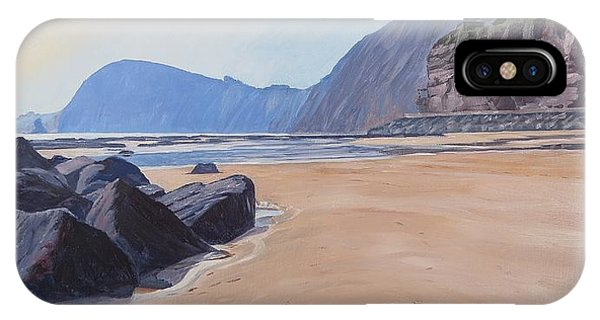 IPhone Case featuring the painting High Peak Cliff Sidmouth by Lawrence Dyer