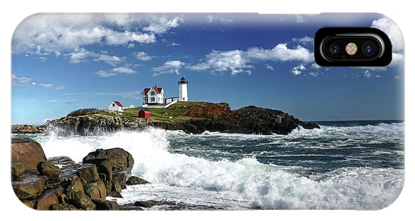 High Surf At Nubble Light IPhone Case
